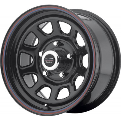 American Racing AR767 Gloss Black Steel With Red and Blue Stripe Wheel (15