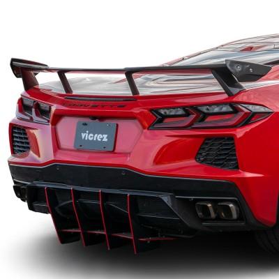 Vicrez High Wing Carbon Fiber Rear Spoiler vz102208 | Chevrolet Corvette C8 2020-2021