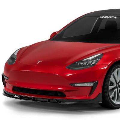 Vicrez V3R Style Front Lip vz102327   Tesla Model 3 2016-2021