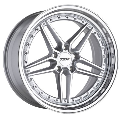 """TSW Ascari Silver With Mirror Cut Face And Lip (20"""" x 9"""", +35 Offset, 5x120 Bolt Pattern, 76.1 mm Hub) vzn113040"""