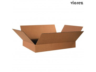 "Vicrez Flat Corrugated Boxes, 19"" Length x 12"" Width x 3"" Height, Brown (Pack of 100)"