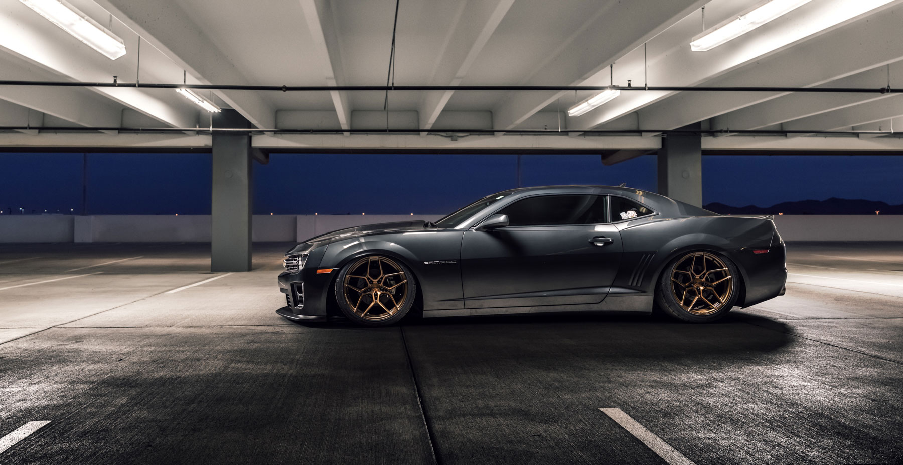 Gray Chevrolet Camaro SS x Rohana RFX11 Wheels (Finished in Brushed Bronze)