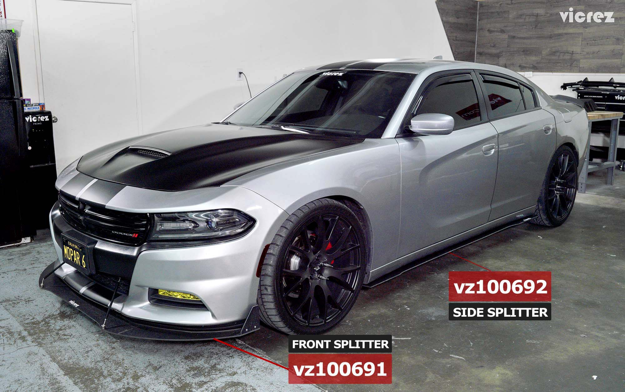Vicrez Dodge Charger 2011-2019 VZ3 Style Side Skirt Splitters vz100692