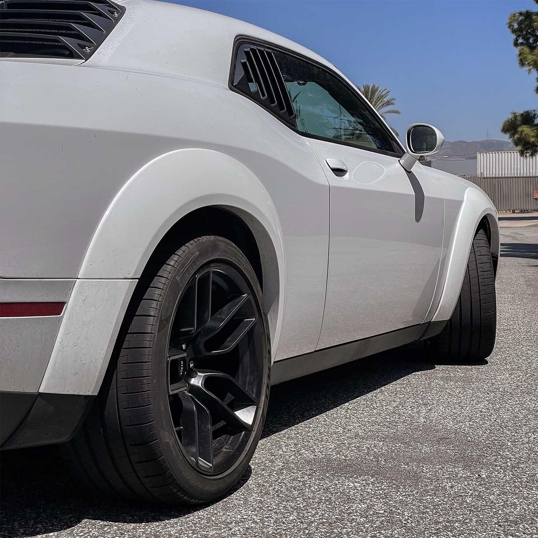 White Dodge Challenger Widebody x Hellcat Redeye Style Widebody Matte Black